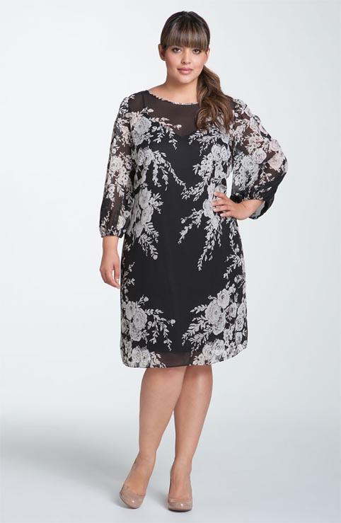вечернее платье из шифона для полных поверхностью: вискозы и полупрозрачного шифона с едва заметным блеском, бархата